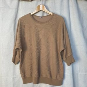 Vintage Tan Quilted Knit 3/4 Dolman Sleeve Top